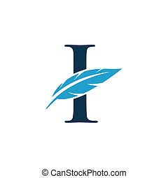 initial with feather - initial logo with feather