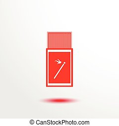 Matches. Vector icon. - Red and white vector illustration.