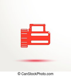 Marching flashlight Vector icon - Red and white vector...