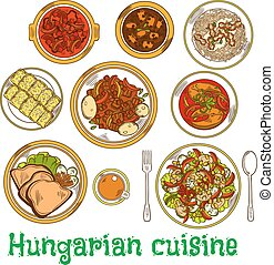 Nutritious dishes of hungarian cuisine sketch icon -...