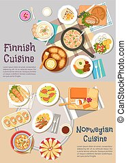 Popular dishes of finnish and norwegian cuisines -...