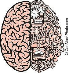Robot brain icon with equipments and gauges