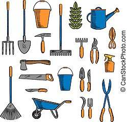 Various of gardening tools and equipments symbols