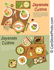 Traditional japanese seafood dishes flat icon - Seafood menu...