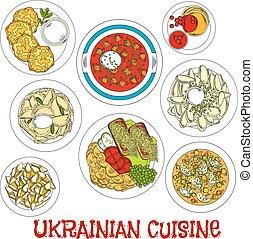 Sketched ukrainian meatless dishes for Lent icon - Meatless...