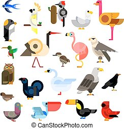 Wild, aquatic, tropical and urban birds flat icons