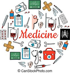Medicine and medical check up sketch icons - Medicine and...