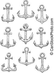 Engraving sketched sailing ships anchors icons - Vintage...