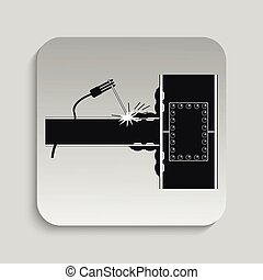 Welding works Vector illustration - Black and white vector...