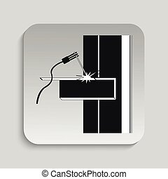 Welding works. Vector illustration - Black and white vector...