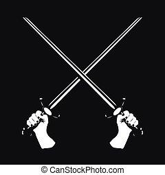dois, cruzado, espadas, em, seu, mãos