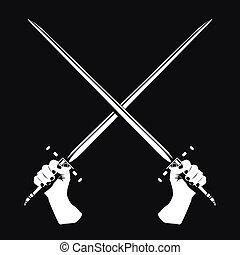seu, mãos, espadas, dois, cruzado