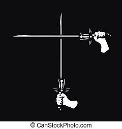 dois, cruzado, espadas, em, seu, mãos,