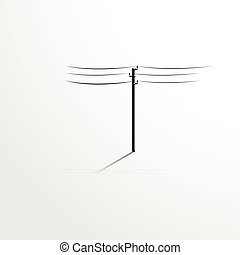 Pole with wires. Vector illustratio - Black and white vector...