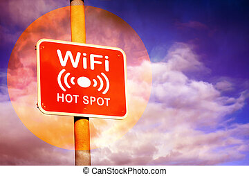 Wifi hotspot sign - Red Wifi hotspot sign against a purple...