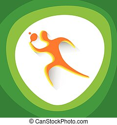 Table Tennis Player Sport Competition Icon Vector...