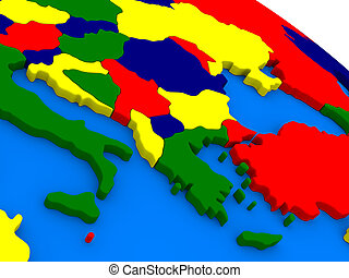 Greece on colorful 3D globe - Greece on colorful political...