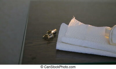 Cufflinks on the table. Wedding Accessories in full HD