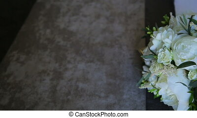 Beige wedding bouquet with roses and peonies in full HD
