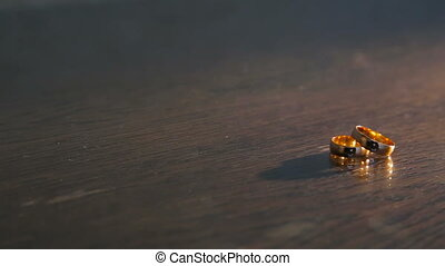 Wedding rings on the table in full HD