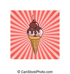 Strawberry Ice cream with topping - Vector Strawberry Ice...