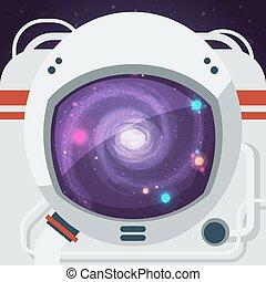 Astronaut Flat Illustration - Astronaut wearing space helmet...