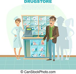 Drugstore Cartoon Illustration - Drugstore with pharmacist...