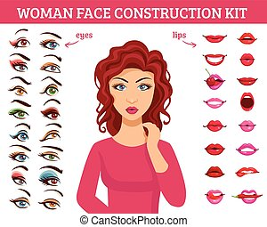 Woman Face Construction Kit - Woman face construction kit...