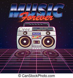Music Forever Poster - Music forever poster with retro tape...