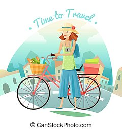 Time To Travel Illustration - Time to travel cartoon concept...