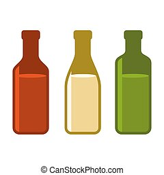 Colors Wine Bottles Set on White Background. Vector