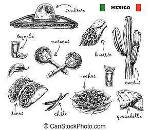 cuisine and souvenirs of Mexico - hand drawn sketches of...