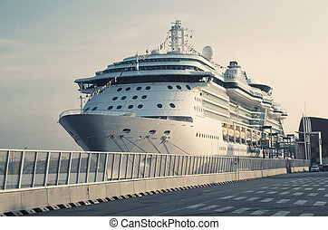 Passenger Transatlantic Cruise Liner Docked at Barcelona...