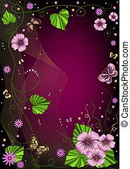 Decorative dark violet  floral fram