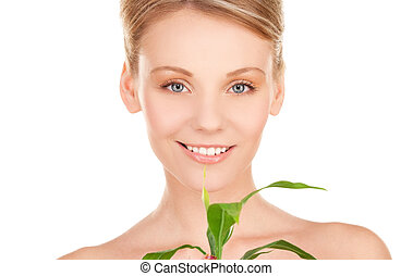 woman with sprout - picture of woman with sprout over white