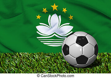 Soccer Ball on Grass with Macau Flag Background, 3D...