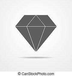 Crystal icon - vector illustration - Black crystal icon -...