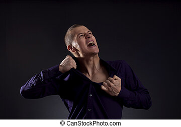 man screaming - smart casual man screaming and ripping his...