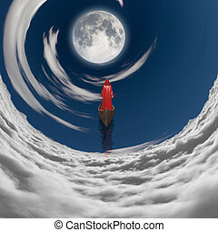 figure in red robe floating to fulll moon in clouds