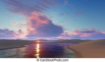 Fantastic sunset in Brazil desert - Fantastic sunset glow in...