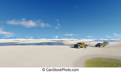 Off-road vehicles in Brazil desert - Off-road vehicles SUV...