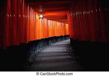 Red Tori Gate at Fushimi Inari Shrine in Kyoto, Japan ,...