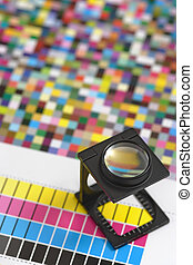 Printers magnifying glass - Shallow depth of field image of...