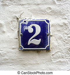 Number 2 - Enameled house number two