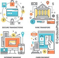 Internet Banking Concepts - Vector set of conceptual flat...