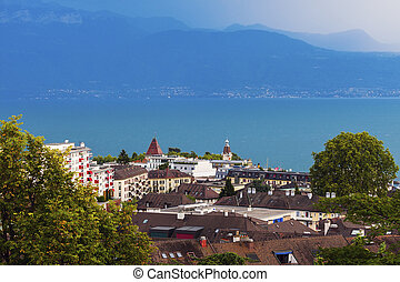 Lausanne architecture and Lake Geneva. Lausanne, Vaud,...