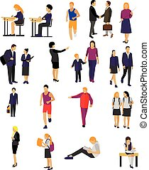 Vector set of pupils and teachers in school isolated on...