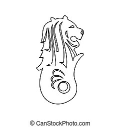 Merlion statue, Singapore icon, outline style - Merlion...
