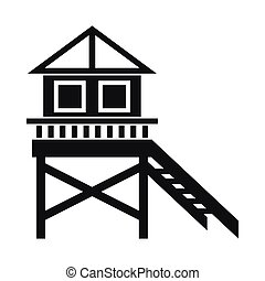Wooden stilt house icon, simple style - Wooden stilt house...