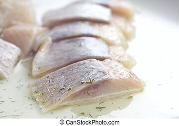 pieces of herring studio isolated - sliced herring studio...